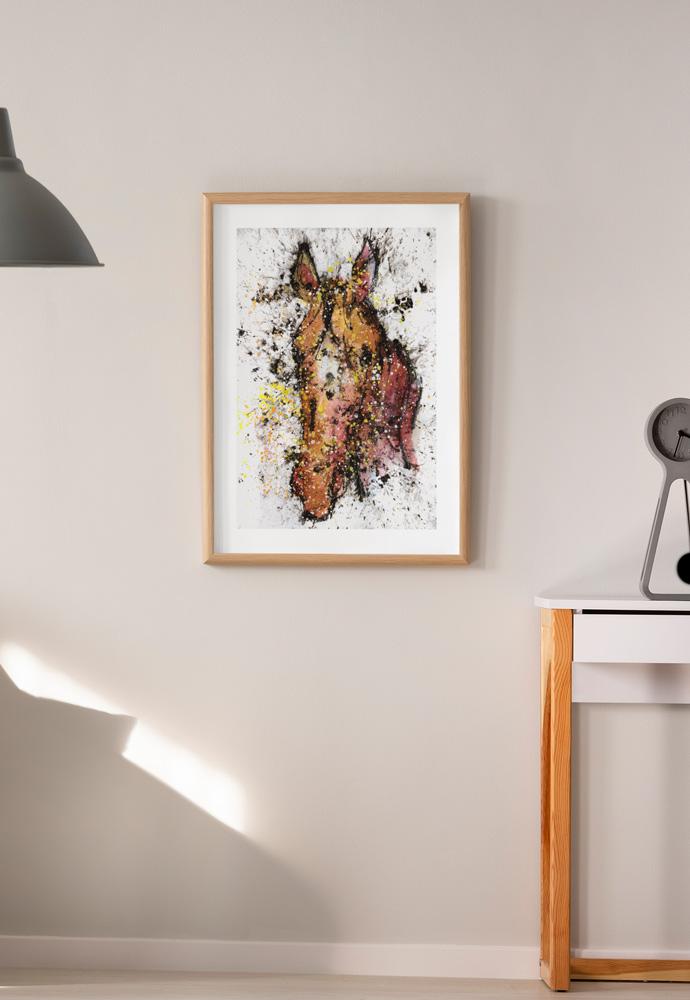 Reproducción sobre papel de la cabeza de un caballo. Obra del artista Crespí Alemany. Armonía figurativa.