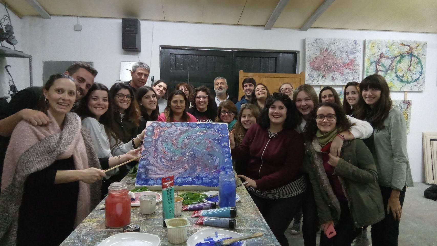 Alumnos del Ies Santa Margalida en el estudio de Crespí Alemany