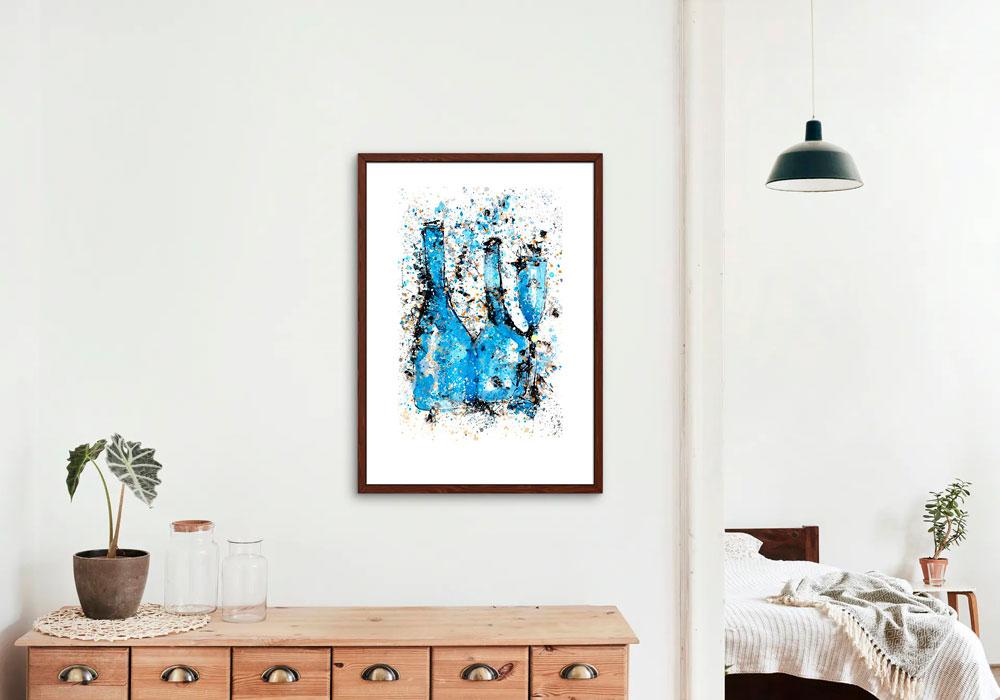 Reproducción sobre papel de un bodegón. Obra del artista Crespí Alemany. Armonía figurativa.
