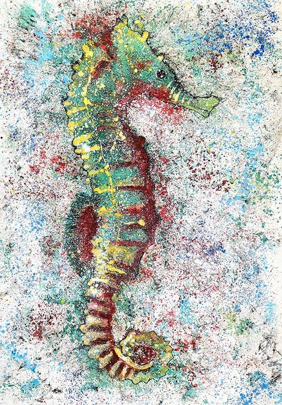 Cuadro de un caballito de mar con tonalidades verdes y rojas. Obra del artista Crespí Alemany. Armonía figurativa.