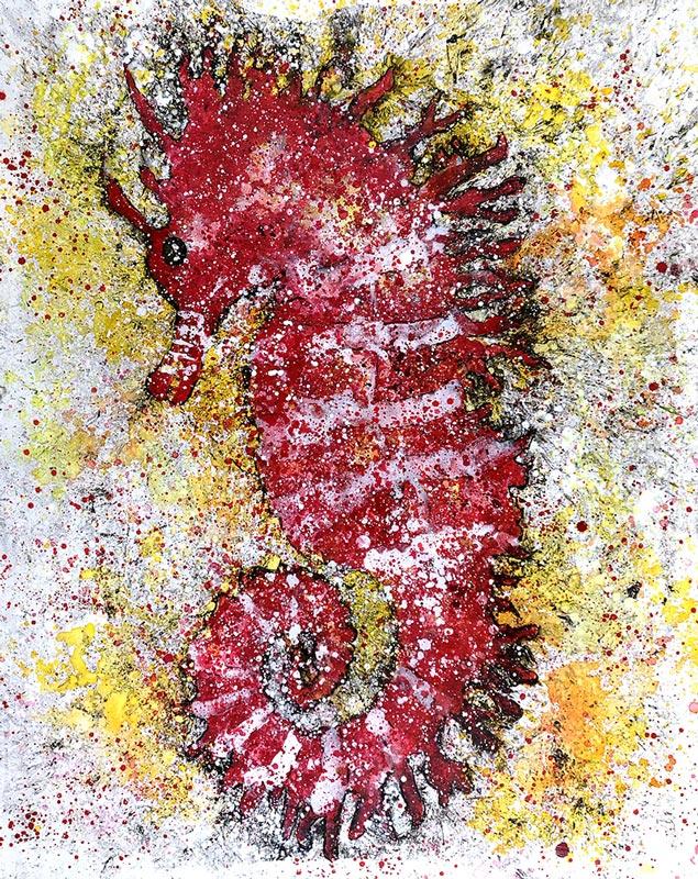 Cuadro de un caballito de mar con tonalidades rojas y blancas. Obra del artista Crespí Alemany. Armonía figurativa.