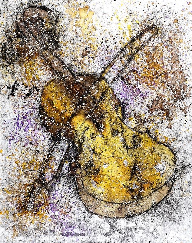 Cuadro de de un violín con tonalidades ocres. Obra del artista Crespí Alemany. Armonía figurativa.