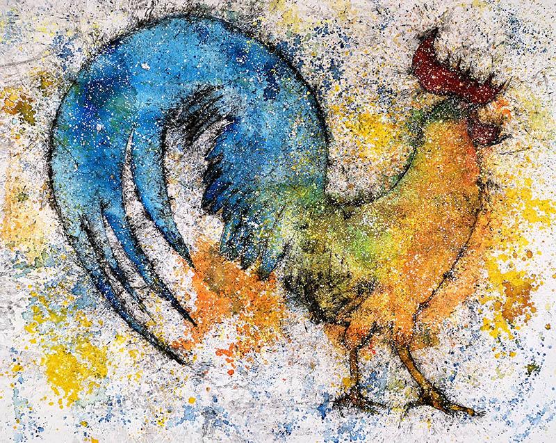 Cuadro de un gallo con la cola azul. Obra del artista Crespí Alemany. Armonía figurativa.