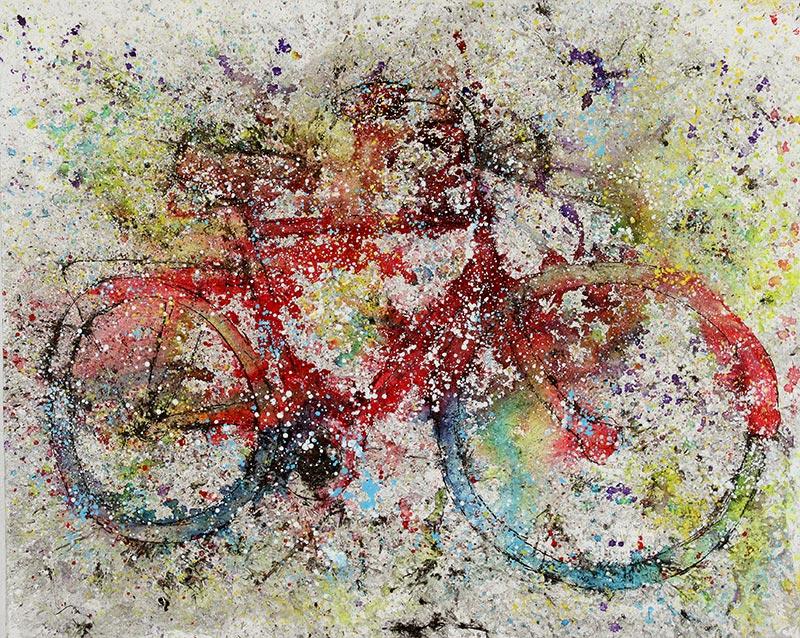 Cuadro de una bicicleta roja. Obra del artista Crespí Alemany. Armonía figurativa.