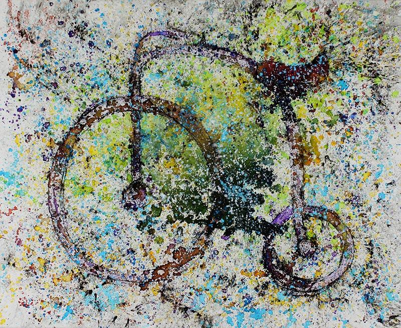 Cuadro de una bicicleta antigua. Obra del artista Crespí Alemany. Armonía figurativa.
