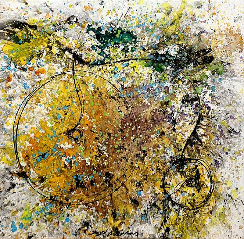Cuadro de una bicicleta antigua con manchas. Obra del artista Crespí Alemany. Armonía figurativa.