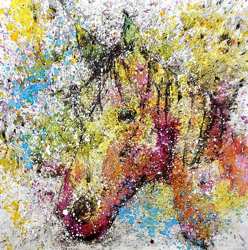 Cuadro de u.na cabeza de caballo Obra del artista Crespí Alemany. Armonía figurativa.