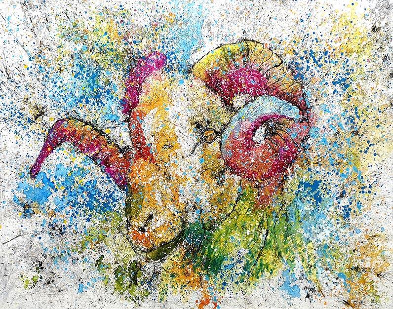 Cuadro de una cabeza de carnero multicolor. Obra del artista Crespí Alemany. Armonía figurativa
