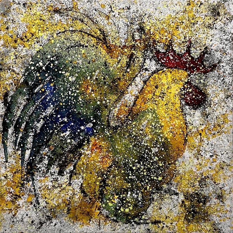 Cuadro de un gallo con colores verdes y ocres. Obra del artista Crespí Alemany. Armonía figurativa