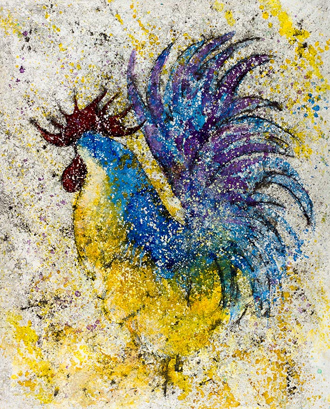 Cuadro de un de plumas azules. Obra del artista Crespí Alemany. Armonía figurativa.