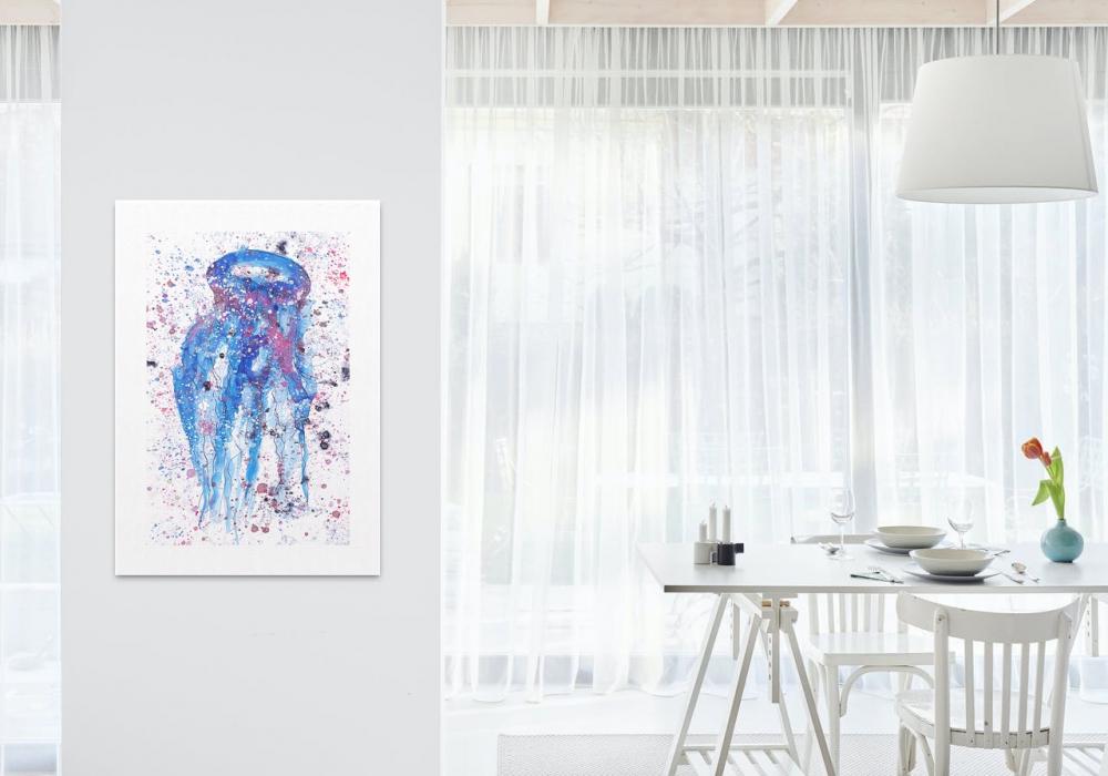 Reproducción sobre papel de una medusa. Obra del artista Crespí Alemany. Armonía figurativa.
