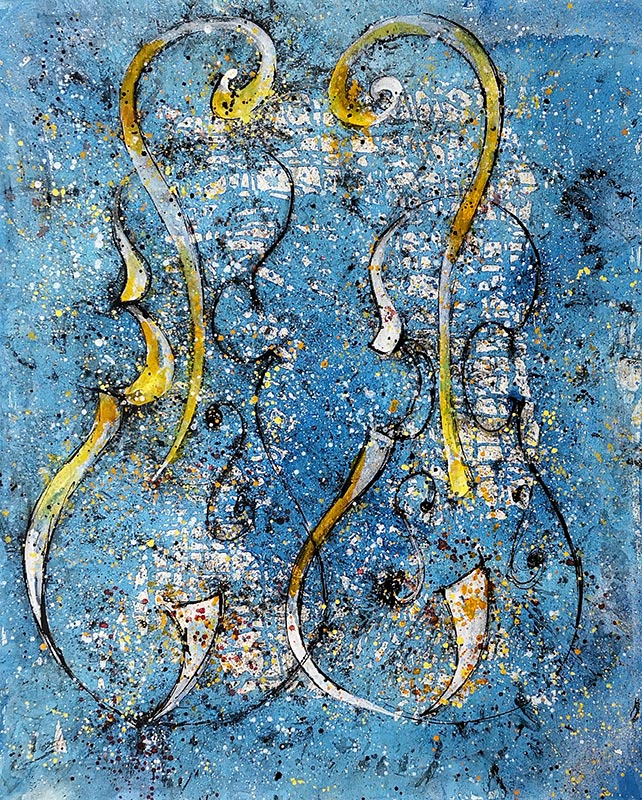 Cuadro de dos violines con fondo azul. Obra del artista Crespí Alemany. Armonía figurativa.