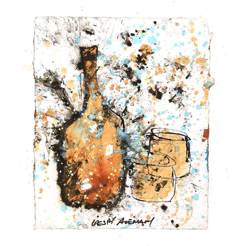 botella con vaso ocre