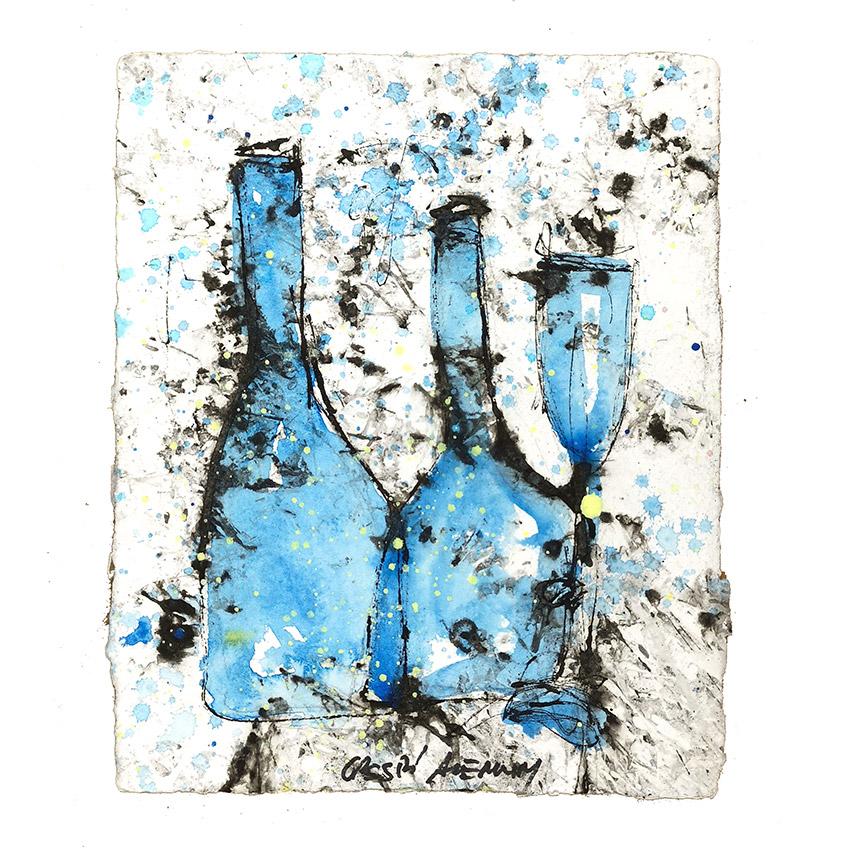 botellas azul claro