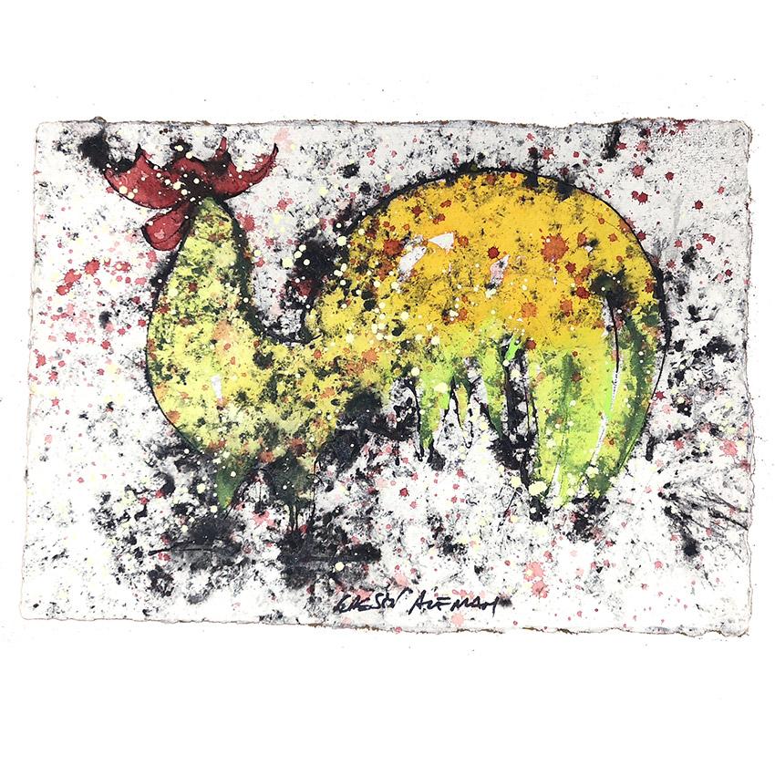 Gallo amarillo y pistacho