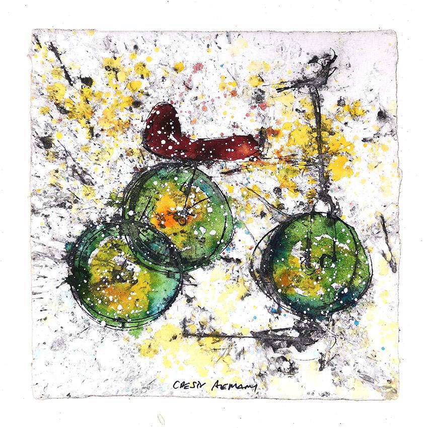 Triciclo ruedas verdes